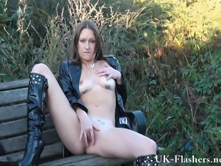 Sexy English MILF Randy masturbating outdoors and flashing her local...