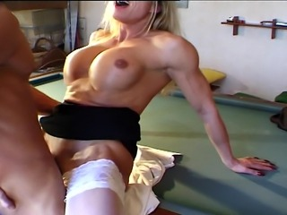 Blonde big boobed MILF getting a hard cock up all her holes on the pool table.