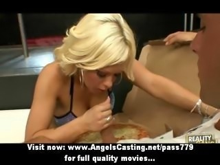 Hot blonde in striptease bar does blowjob for guy with pizza on cock