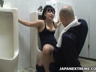 Girl is bound on a public toilet and used by total strangers for sex