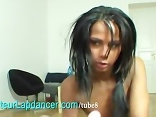 Wild ebony rides on big cock and lapdances