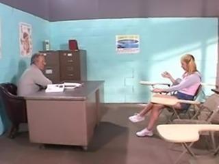 Schoolgirl practices her stripping and fucks her teacher...