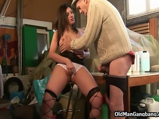 Getting his cock sucked in a storage room and fucking a cute younger lady on...
