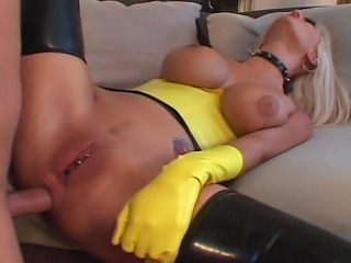 Big boobs horny blond house wife in yellow leather suite experiencing...