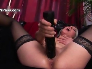Horny blonde whore goes crazy dildo