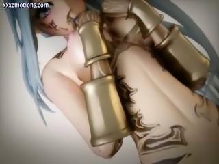 Beautiful animated girl sucking