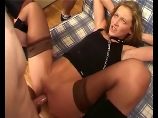 hard group fuck with french slave