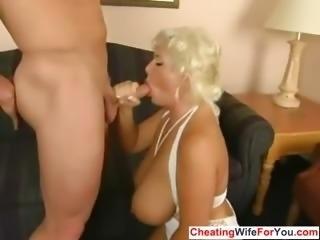 Busty blonde get to swallow cum