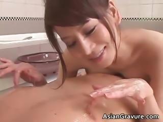 Gorgeous asian brunette babes suck stiff