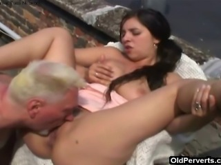 This naughty chick loves chilling on the roof with no panties on and when she...