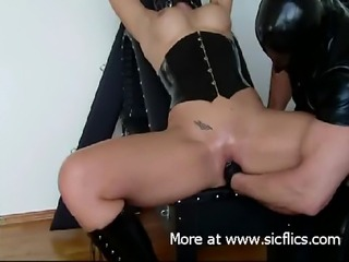 Sexy slave girls take a hard fisting from their dominant master till they...