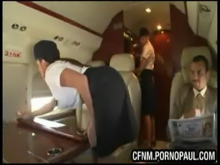 Air stewardess CFNM blowjob and sex free