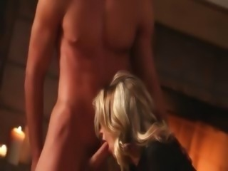 busty blonde fuck before fireplace