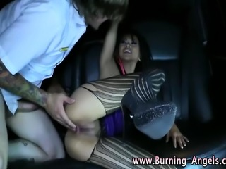 Fetish asian goth in stockings gets fucked in back of limo