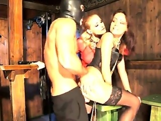 Kathia Nobili, Sophie Lynx and their hot boyfriend in the fetish domination...