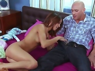 Skinny redhead Veronica Rodriguez takes out a big boner of Johnny Sins and...