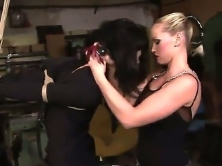 Hardcore BDSM scene with a lesbian bitch Barbie Pink and a hot bitch Kathia...