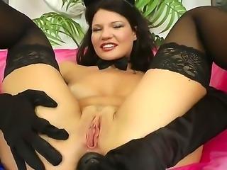 Slutty chick in black stockings Helen Kroff is spreading legs wide, taking...