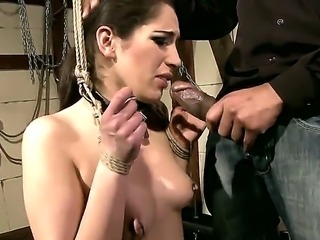 Brunette babe Jesika Gold gets fucked hard after giving a spicy blowjob to a...