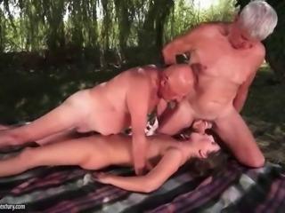 Teen enjoys sex with two grandpas
