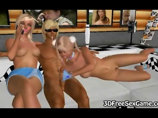 She is a sexy 3D blonde babe with pigtails who is getting fucked bya big hard...