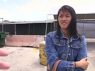 Asian girl with nice body Angelina is taking a ride in famous Bang Bus with...