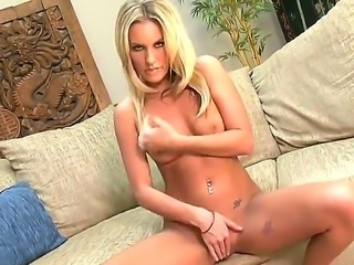 Blonde chick Kiara Diane is showing her pussy and her sexy boobies on camera