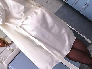 Fantastic and elegant blonde Kathia Nobili masturbates in the bathroom