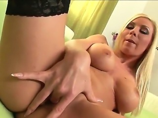 The fantastic busty blonde Helena Sweet in the seductive stockings...