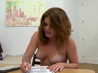 Grogeous babe with nice little titties is being totally naked in the office,...