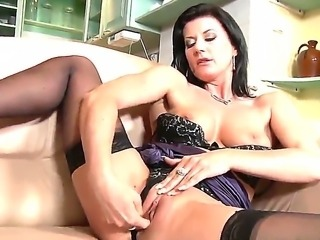 Blonde milf Amanda Davidson and her best girlfriend dark haired beauty Celine...