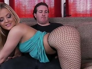 Beatufiul skinny babe in gorgeous fishnet is showing her sexy ass to her...