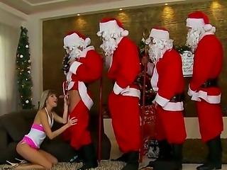 Doris Ivy sucks Santas big ol magical dick, and does a fine job of it, too....