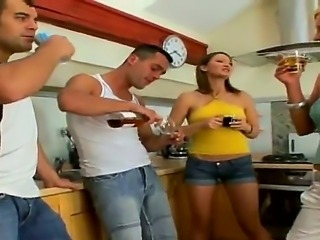 Gorgeous teen girl Bailey was invited on a crazy party at her friends Antonio...