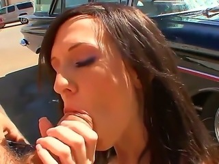 Busty babe Skyla Shy gets hard pounded in her shaved pussy by male with a big...