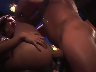 Brianna Love being hard fucked by John West at the bar, he fucked her mouth...