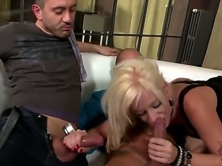 Turned on cock loving experienced blonde whore Bella Morgan with steaming hot...