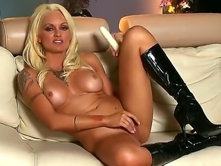 The prepossessing blonde pornstar Monica Mayhem sucks and penetrates her...