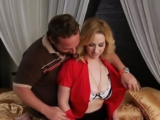 Arousing golden haired milf gets her big boobs touched by a nasty and turned...