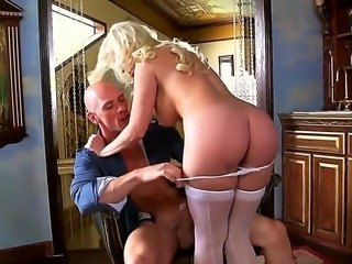 Passionate blonde named Britney Amber gets Johnny Sins cock in the holes