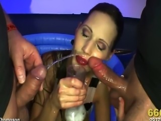 Gorgeous brunette Viktoria joined a wet and wild orgy and the guys LOVED her!...