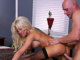 Bald stud Johnny Sins gets his hands on busty blonde Helly Hellfires...