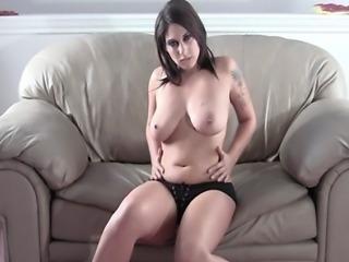 Shesnew Tattoo big tits brunette Roxsy strip tease solo girl fingering