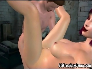 In the jail this sexy 3D redhead toon babe with big tits is getting fucked...