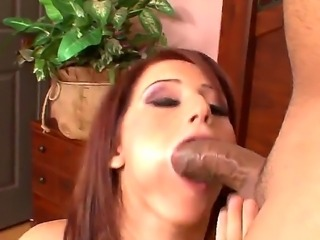 Horny redhead slut Cameron Love stimulates hot cock till it cums on her face