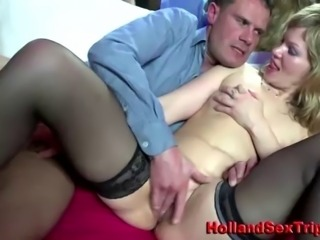 Real amateur dirty dutch hooker swallows client cum facial