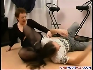 Mature Russian MILF suck big dick