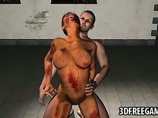Sexy 3D cartoon zombie babe getting fucked hard