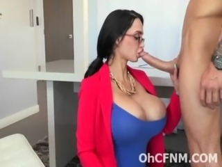 very hot brunette boss with giant boobs free