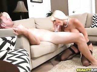 Blonde with giant boobs and bald beaver getting down all by herself